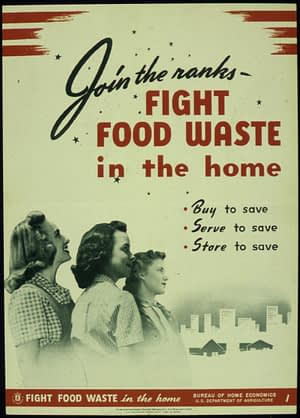 Vintage poster - fight food waste in the home